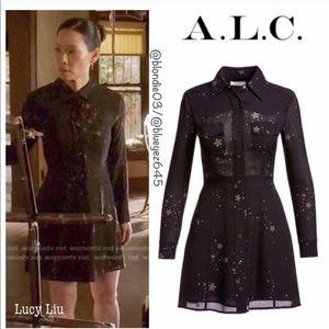 "A.L.C. ""Pedro"" black star print shirt dress 0"